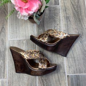 DVF Slide On Gold Sandals Wedges